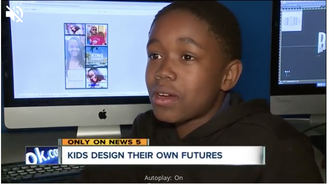 Volunteer teaches youth how to create content at Boys and Girls Club